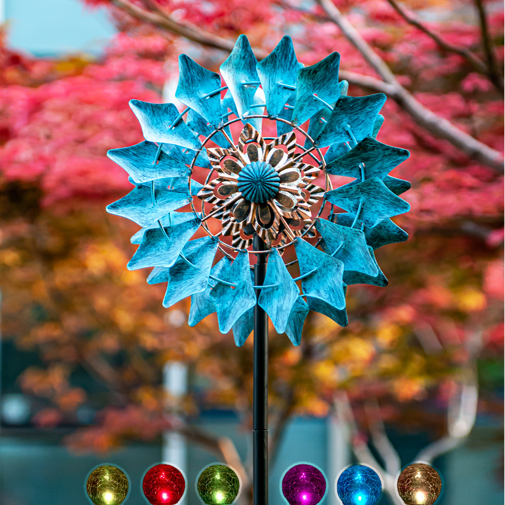 Solar Wind Spinner Azure 75in with Multi-Color Seasonal LED Lighting
