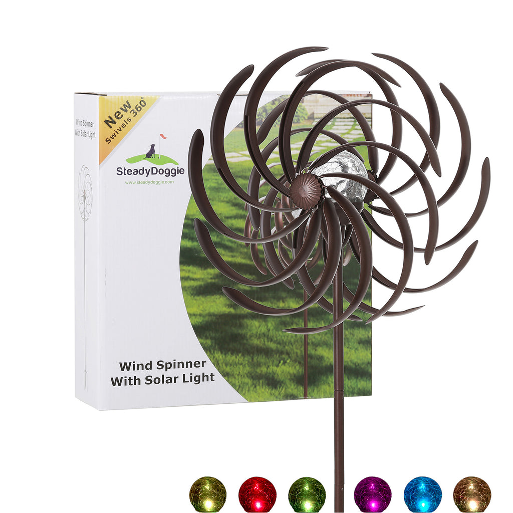 Solar Wind Spinner Willow Leaves 61in with Multi-Color Seasonal LED Lighting
