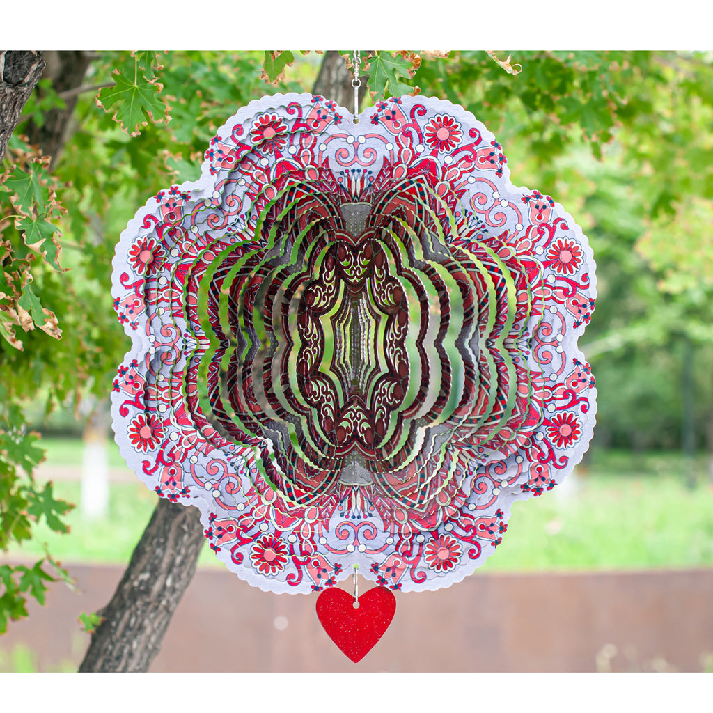 3D Wind Spinner Mandala Spirit 12in / Stainless Steel