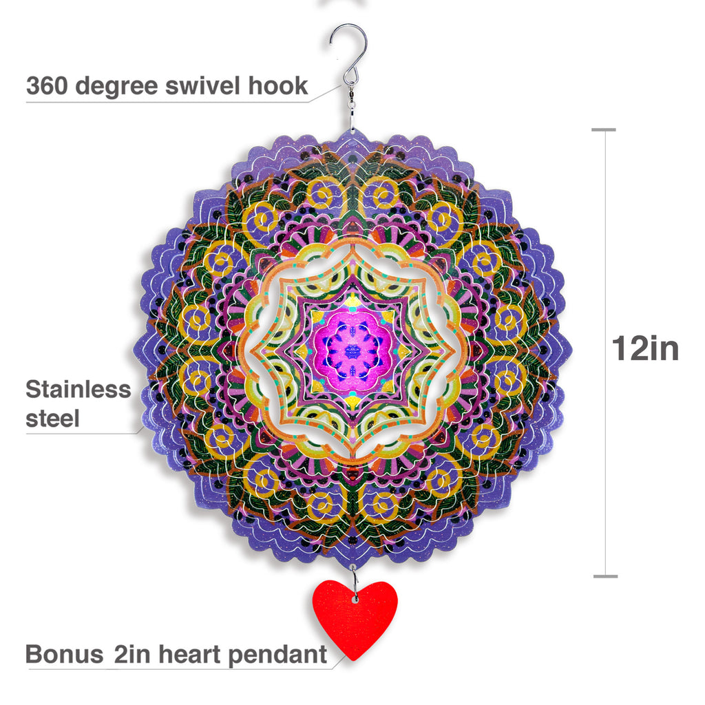 3D Wind Spinner Mandala Purplerain 12in / Stainless Steel