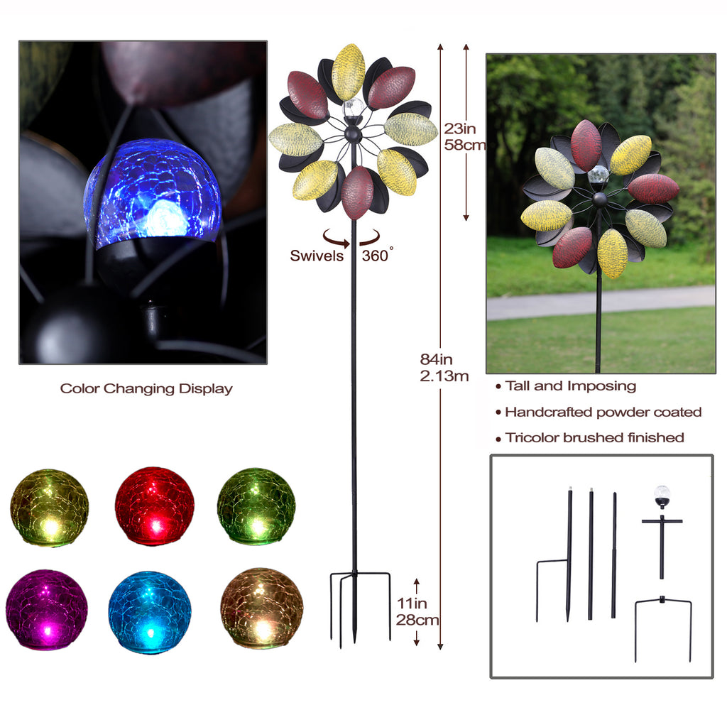 JS1084 - 7Foot Solar Wind Spinner Tricolor 84in