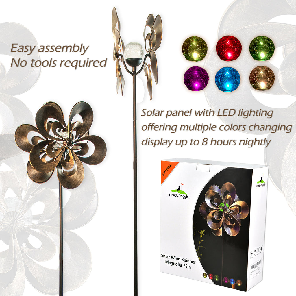 Solar Wind Spinner Magnolia 75in with Multi-Color Seasonal LED Lighting (US Only)