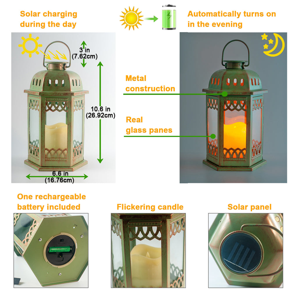 Solar Lantern 2 Pack  (Green) with Flickering Candle
