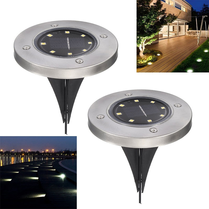 Solar Powered Ground Light Waterproof Garden Pathway Deck Lights With 8 LEDs Solar Lamp for Home Yard