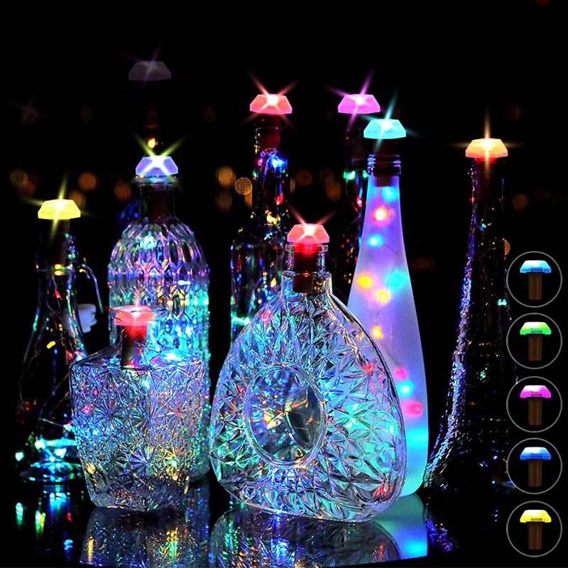 Solar Power Bottle Lights LED Cork Shape Silver Copper Wire Colorful Fairy Mini String Lights for DIY Party Decor