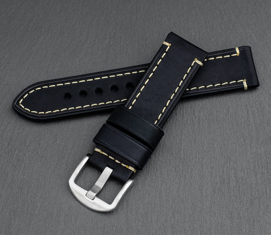 """Chicago"" Handmade Leather Watch Strap (Black)"