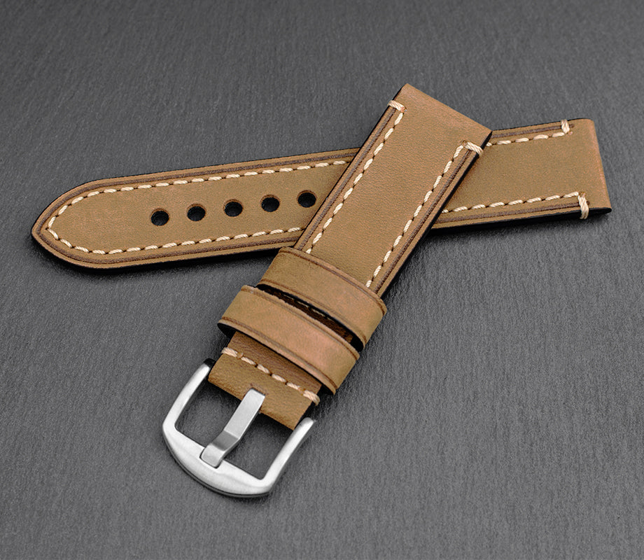 """Chicago"" Handmade Leather Watch Strap (Camel)"