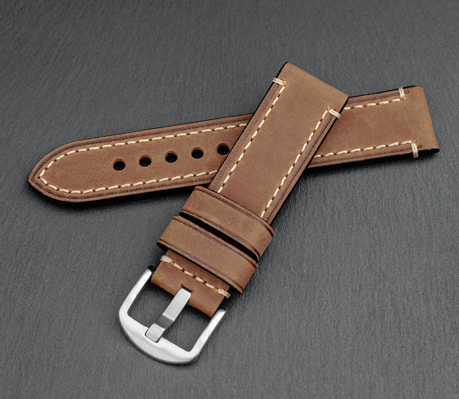 """Chicago"" Handmade Leather Watch Strap (Rust)"