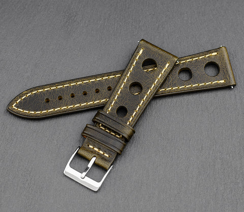"""Monaco"" Handmade Leather Watch Strap (Olive)"