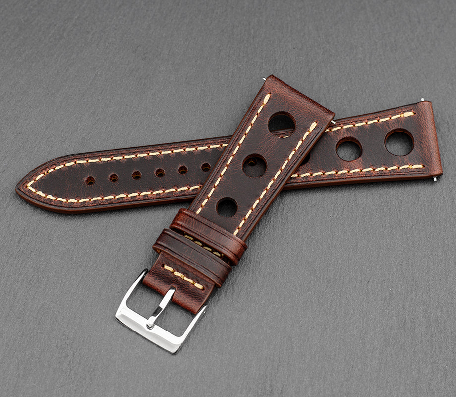 """Monaco"" Handmade Leather Strap (Rust)"