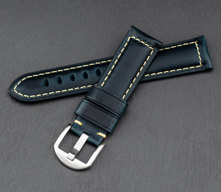 """Palermo"" Handmade Leather Watch Strap (Azure)"
