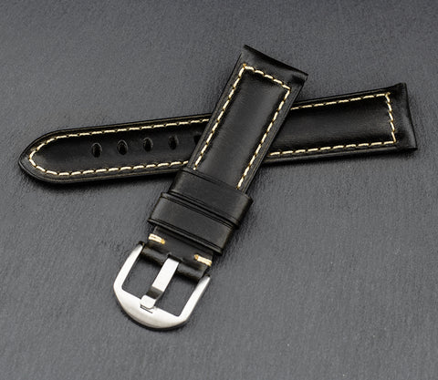 """Palermo"" Handmade Leather Watch Strap (Black)"