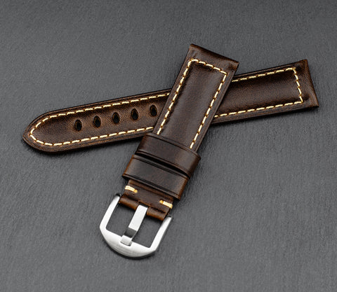 """Palermo"" Handmade Leather Watch Strap (Coffee)"