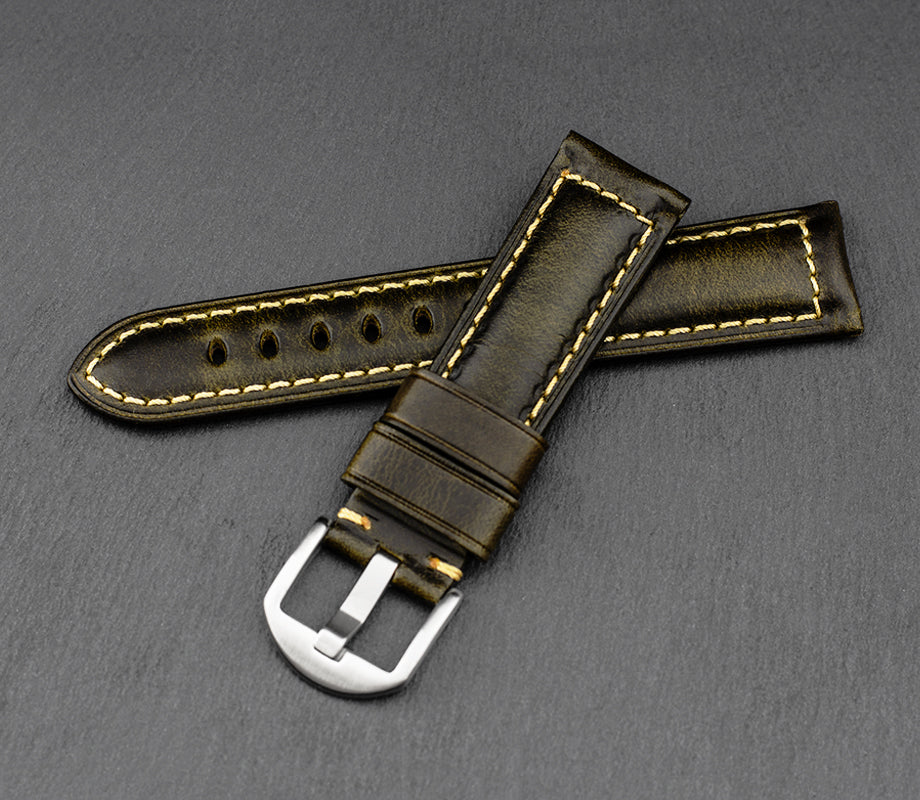 """Palermo"" Handmade Leather Watch Strap (Olive)"