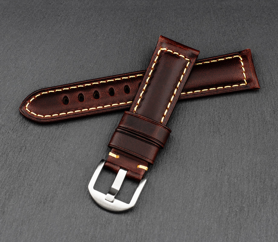 """Palermo"" Handmade Leather Watch Strap (Rust)"