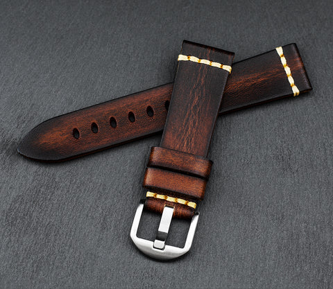 """Barcelona"" Handmade Leather Watch Strap (Rust)"