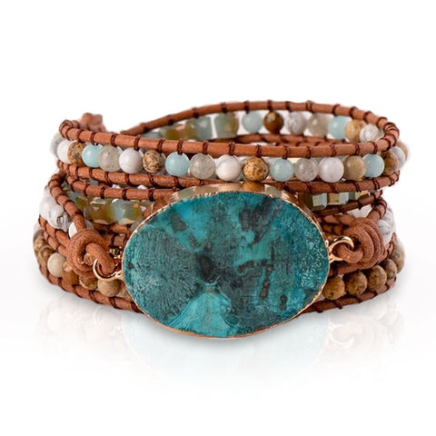 Boho-Chic Leather Wrap Bracelet w/ Huge Ocean Jasper