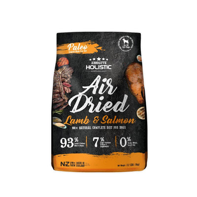Absolute Holistic Lamb & Salmon (1kg) – Air Dried for Dogs - 93% Lamb, Salmon Meat, Organs