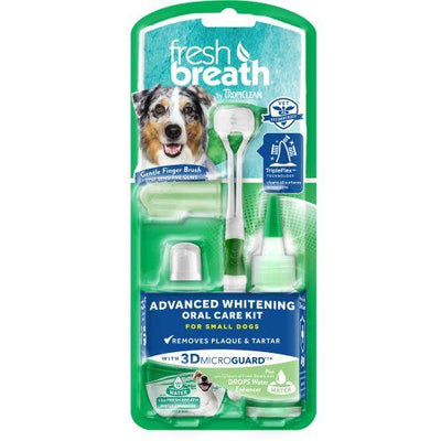 Tropiclean Fresh Breath Advanced Whitening Oral Care Kit (59ml + Brush) - Remove plaque & tartar + freshen dog's breath