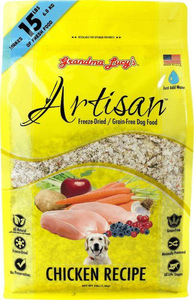 Grandma Lucy Artisan Chicken for Dogs (1.2kg makes 6.8kg fresh food) – Freeze Dried + Just add Water