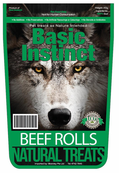 Basic Instinct - Basic Instinct Natural Dog Treats Beef Rolls (200g) - Air Dried Dog Treats
