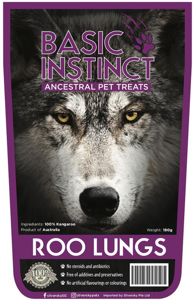 Basic Instinct Natural Dog Treats Roo Lungs - 100% Kangaroo (180g) - Air Dried Dog Treats