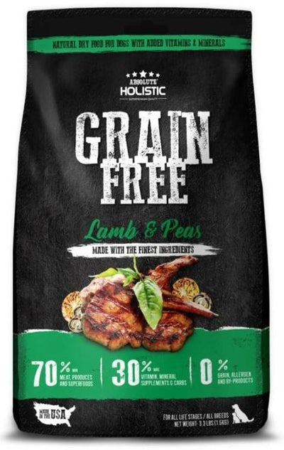 Absolute Holistic Lamb & Peas (Grain Free) (3 sizes) – Dry Dog Food - 70% Meat Products + Superfoods