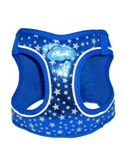 Glow Harness - Plush Step In Glitter GLOW Dog Harness (Blue) - Quick Release Patented Snap Button