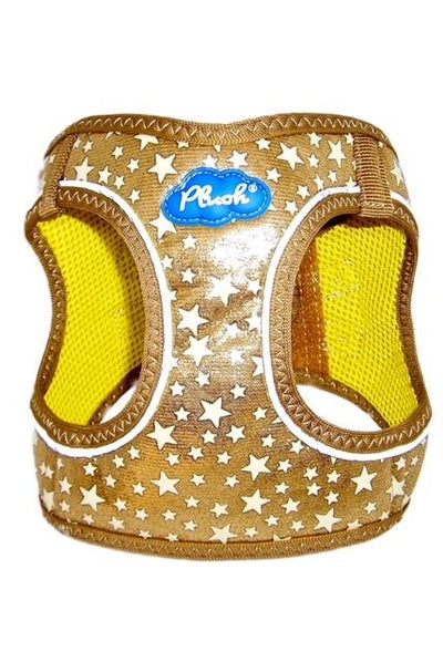 Glow Harness - Plush Step In Glitter GLOW Dog Harness (Gold) - Quick Release Patented Snap Button