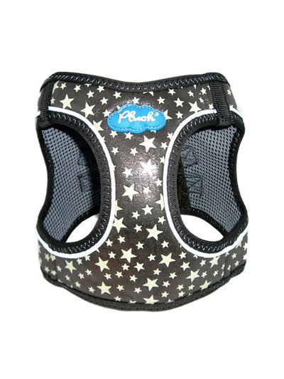 Glow Harness - Plush Step In Glitter GLOW Dog Harness (Gunmetal) - Quick Release Patented Snap Button