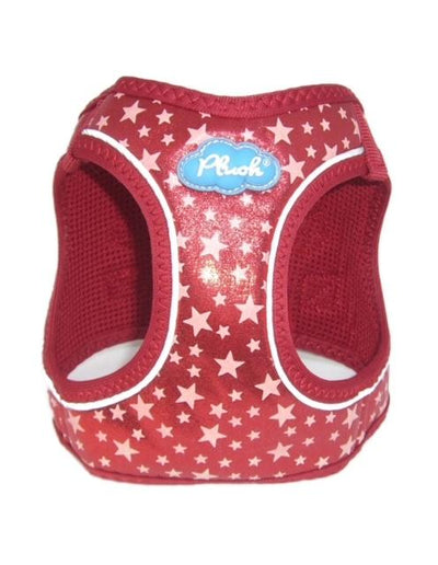Glow Harness - Plush Step In Glitter GLOW Dog Harness (Red) - Quick Release Patented Snap Button
