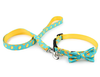NV Bow Tie Collar Leash - Lemon Squeeze - Removable Bow Tie Teal Collar, Leash For Dogs