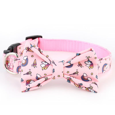 NV Bow Tie Collar Leash - Magical Unicorns - Removable Bow Tie Pink Collar, Leash For Dogs