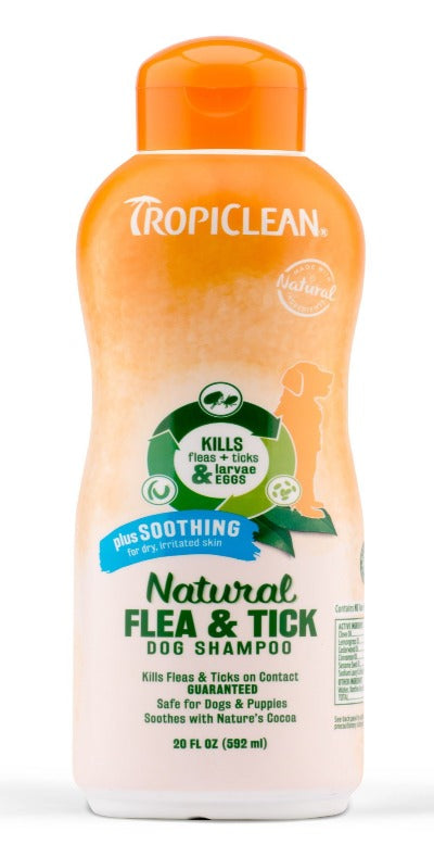 TropiClean Natural Tick & Flea Shampoo (Plus Soothing) (592ml / 3800ml) for Dog / Puppies - To soothe irritated skin