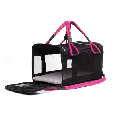 Pet Carrier - Roverlund Pet Carrier (Car Seat + Carrier + Mobile Dog Bed) - Black / Magneta