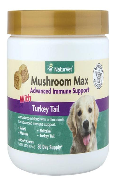 NaturVet Mushroom Max with Turkey Tail - Soft Chews (60 / 120) - Dogs in need of advanced immune support