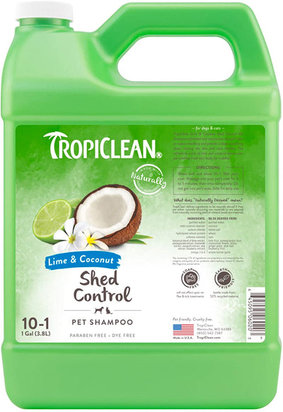 TropiClean Lime & Coconut Dog Shampoo (355ml / 3800ml) - To reduce shedding