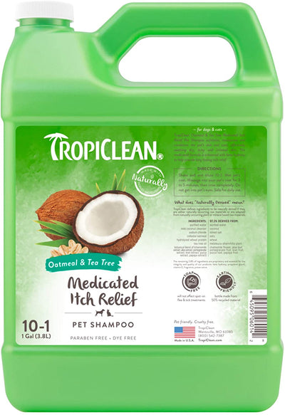 TropiClean Oatmeal & Tea Tree Dog Shampoo (Medicated) (355ml / 3800ml) - To relieve dry, itchy skin - Safe for Humans too.