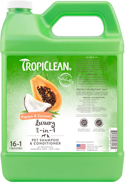 TropiClean Papaya & Coconut 2-in-1 Shampoo + Conditioner (355ml / 3800ml) - Conditioning shampoo for soft shiny skin and coat