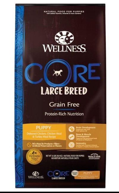 Wellness CORE Grain-Free Large Breed Puppy (10.9Kg) – Dry Food - Deboned Chicken, Chicken Meal, Turkey Meal
