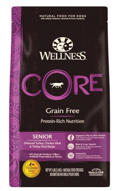 Wellness CORE Grain-Free Senior (3 sizes) – Dry Dog Food - Deboned Turkey, Chicken Meal, Turkey Meal