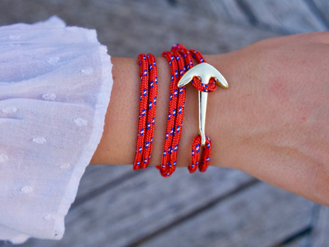 Poseidon bracelet, red with blue polka dots