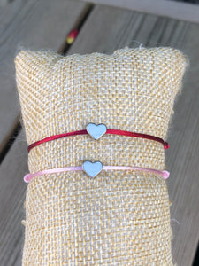 Adjustable bracelet Llithye, pink with silver heart