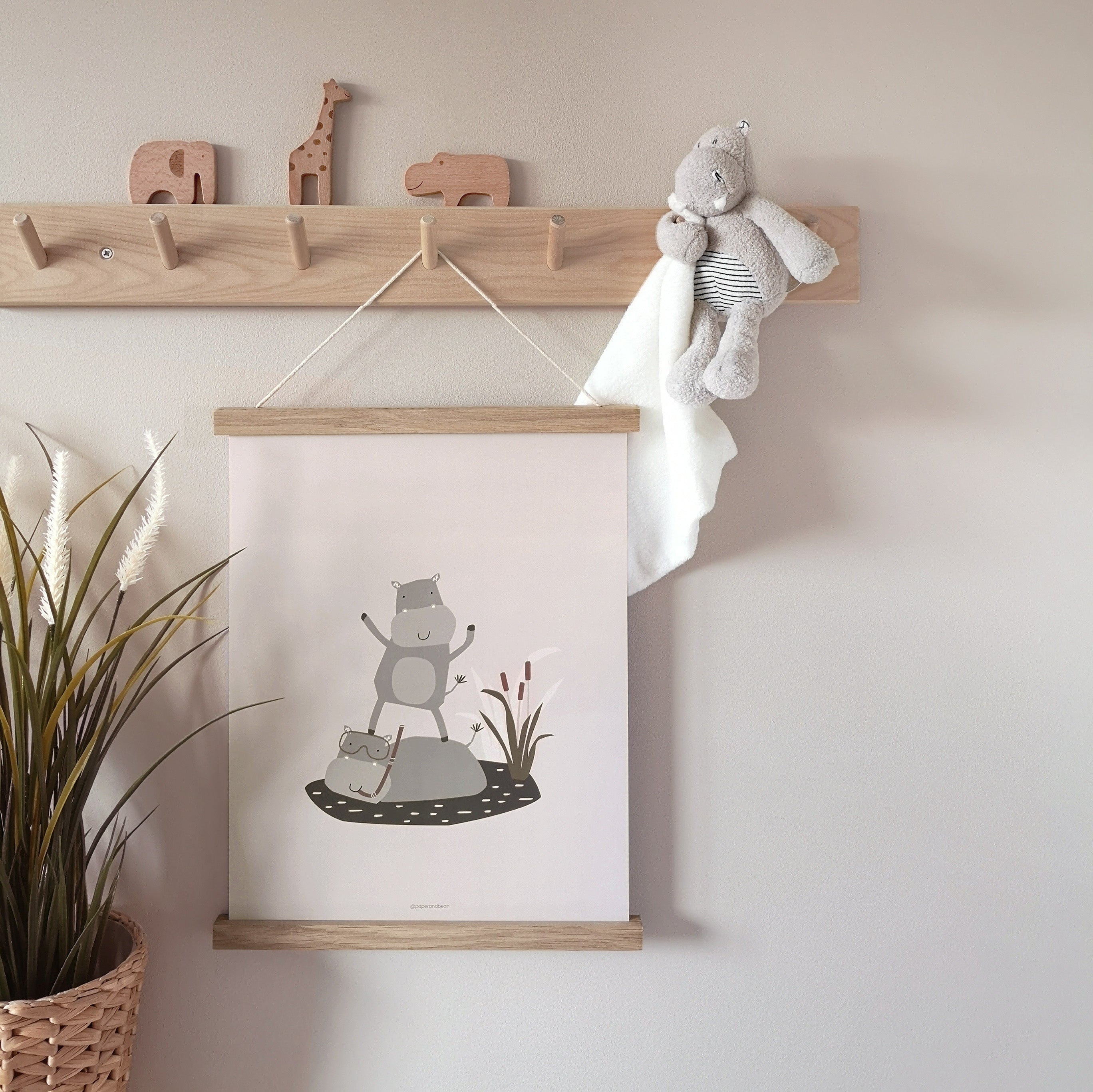 Harry the Hippo Nursery Print