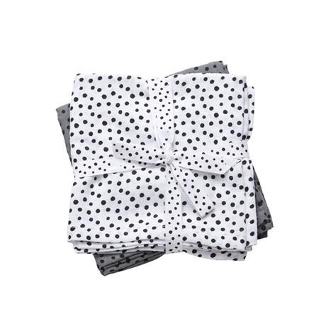 Done By Dear set 2 burp cloths 70x70cm Happy dots grey - DE GELE FLAMINGO - 1