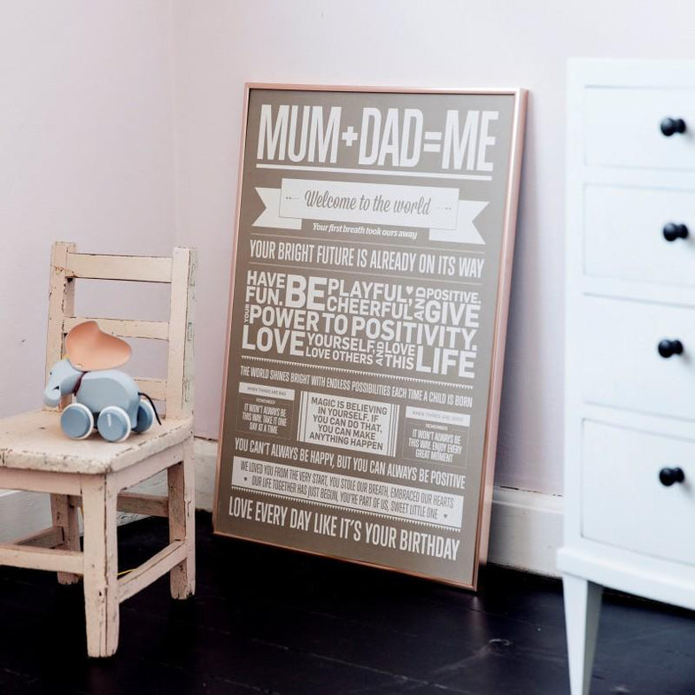 I love my type poster 50x70cm - Mum+Dad=Me