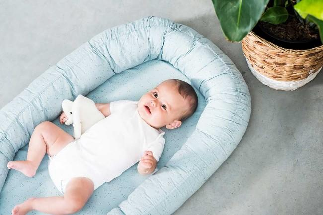Jollein cocon Babynest Mini dots stone green