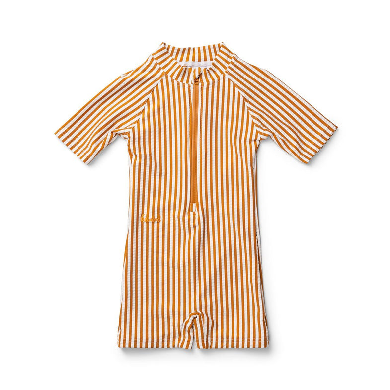 Liewood Max UV swim jumpsuit | Stripe mustard White
