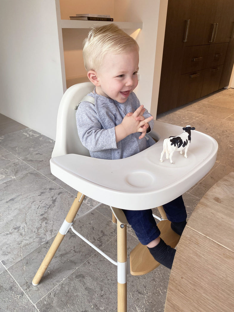 Childhome EVOLU2 meegroeistoel Naturel/wit 2 in 1 + beugel