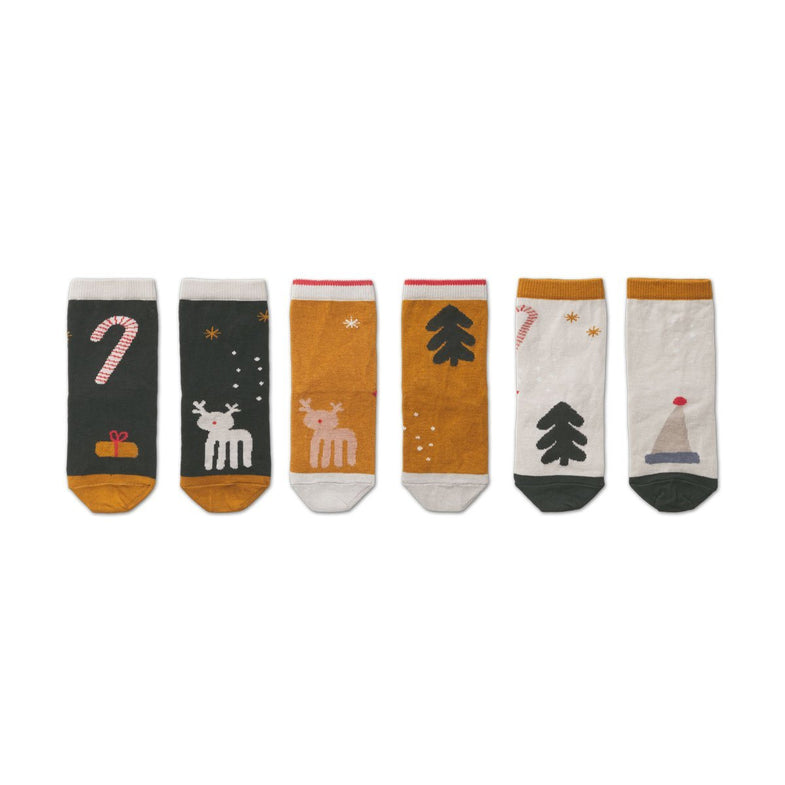 Liewood Silas Socks 3 pack | Holiday Hunter Green Multi Mix